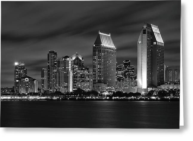 San Diego Greeting Cards - San Diego Skyline at Night  Black and White Greeting Card by Larry Marshall