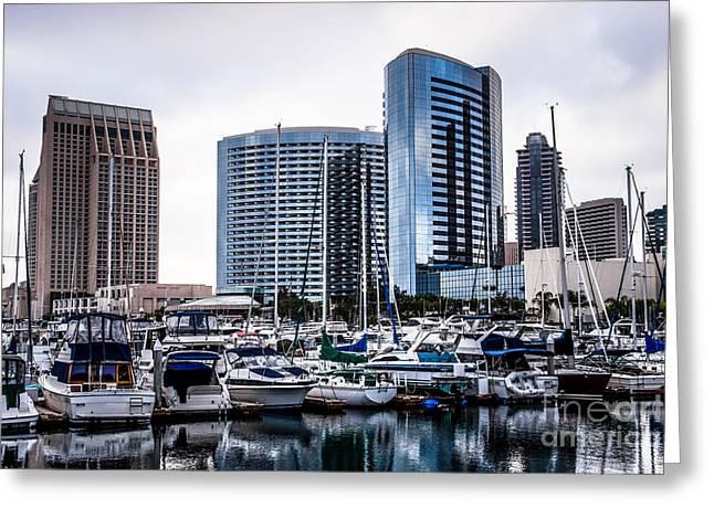 Sailboat Photos Greeting Cards - San Diego Skyline Luxury Marina Greeting Card by Paul Velgos