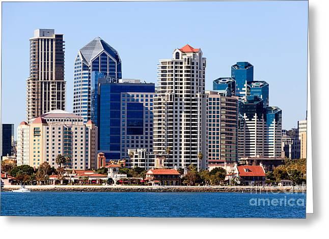 Condominium Greeting Cards - San Diego Skyline Photo Greeting Card by Paul Velgos