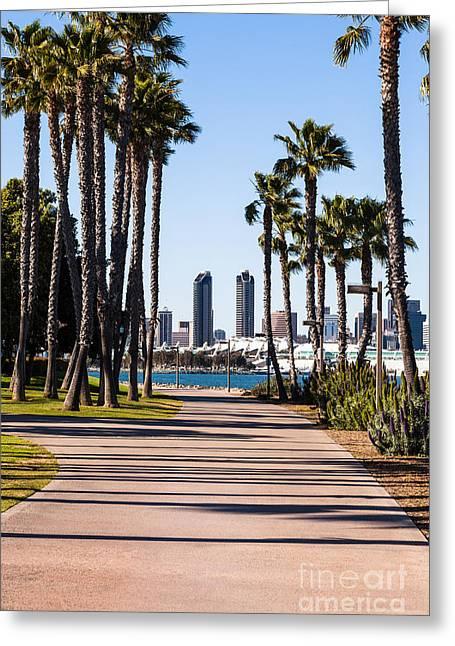San Diego Skyline With Coronado Island Bayshore Bikeway Greeting Card by Paul Velgos