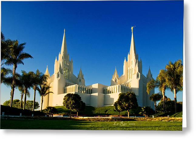 Lds Temples Greeting Cards - San Diego Towers Greeting Card by La Rae  Roberts