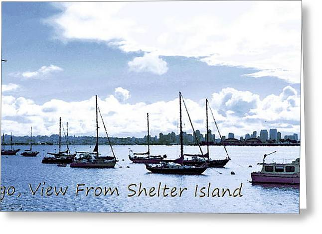 Frank Ocean Art Greeting Cards - San Diego View from Shelter Island Greeting Card by Visual Artist  Frank Bonilla