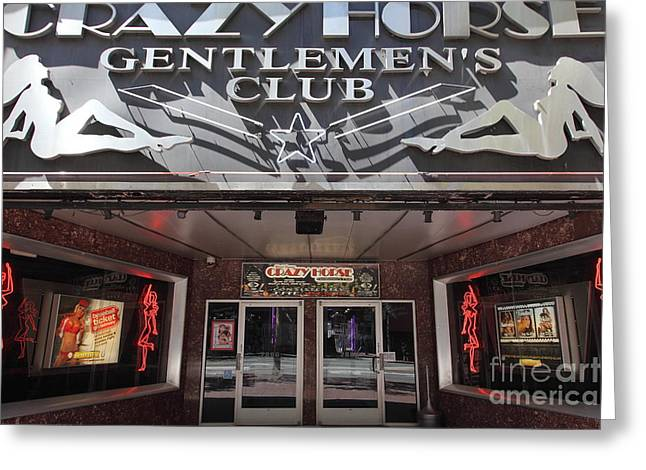 Downtown San Francisco Greeting Cards - San Francisco - Crazy Horse Gentlemens Club on Market Street - 5D17977 Greeting Card by Wingsdomain Art and Photography