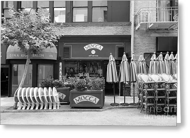 Macys Greeting Cards - San Francisco - Maiden Lane - Mocca Cafe - 5D17788 - black and white Greeting Card by Wingsdomain Art and Photography