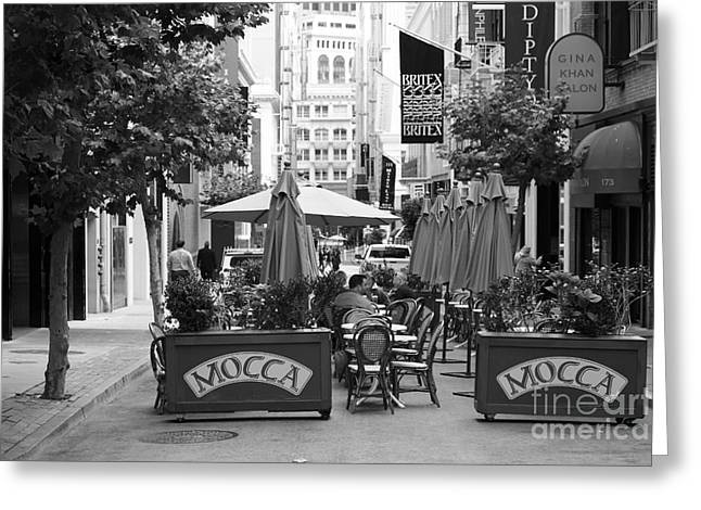 Union Square Greeting Cards - San Francisco - Maiden Lane - Outdoor Lunch at Mocca Cafe - 5D17932 - black and white Greeting Card by Wingsdomain Art and Photography