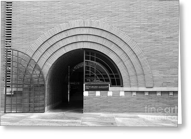Union Square Greeting Cards - San Francisco - Maiden Lane - Xanadu Gallery - Frank Lloyd Architecture - 5D17793 - black and white Greeting Card by Wingsdomain Art and Photography