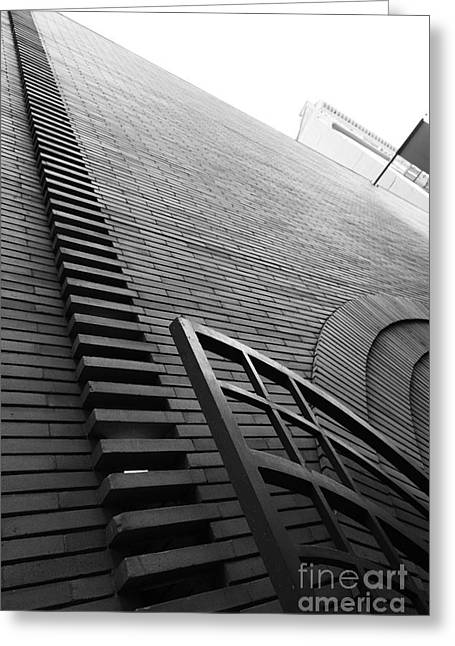 Union Square Greeting Cards - San Francisco - Maiden Lane - Xanadu Gallery - Frank Lloyd Architecture - 5D17795 - black and white Greeting Card by Wingsdomain Art and Photography