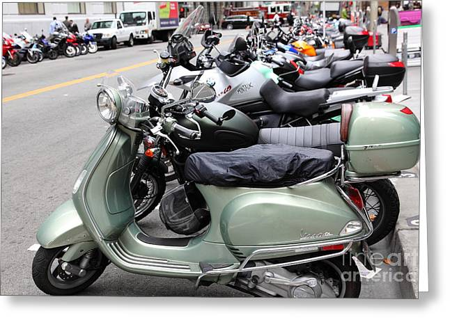 Sutter Street Greeting Cards - San Francisco - Scooters and Motorcycles Along Sansome Street - 5D17654 Greeting Card by Wingsdomain Art and Photography