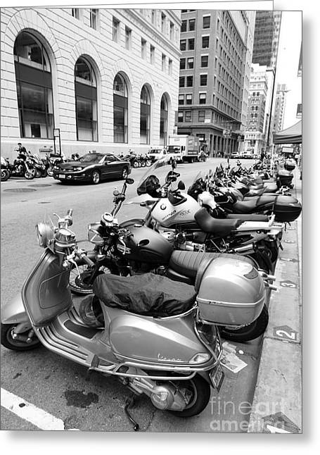 Sutter Street Greeting Cards - San Francisco - Scooters and Motorcycles Along Sansome Street - 5D17657 - black and white Greeting Card by Wingsdomain Art and Photography