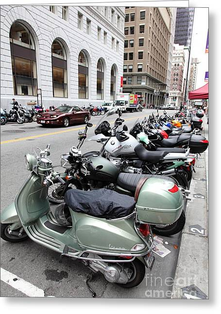 Sutter Street Greeting Cards - San Francisco - Scooters and Motorcycles Along Sansome Street - 5D17657 Greeting Card by Wingsdomain Art and Photography
