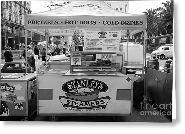 Hot Dog Stand Greeting Cards - San Francisco - Stanleys Steamers Hot Dog Stand - 5D17929 - black and white Greeting Card by Wingsdomain Art and Photography