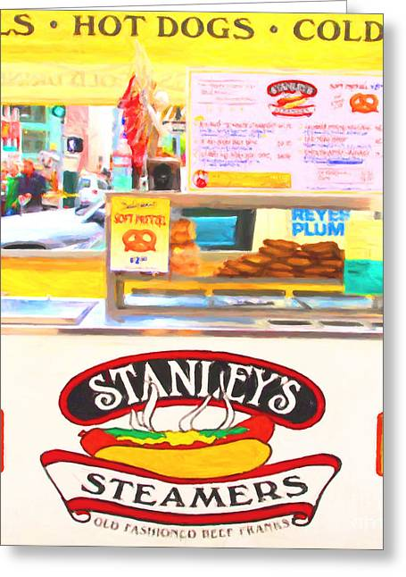 Hot Dog Stand Greeting Cards - San Francisco - Stanleys Steamers Hot Dog Stand - 5D17929 - Square - Painterly Greeting Card by Wingsdomain Art and Photography