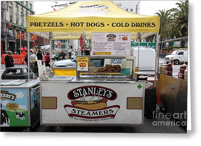 Stockton Street Greeting Cards - San Francisco - Stanleys Steamers Hot Dog Stand - 5D17929 Greeting Card by Wingsdomain Art and Photography