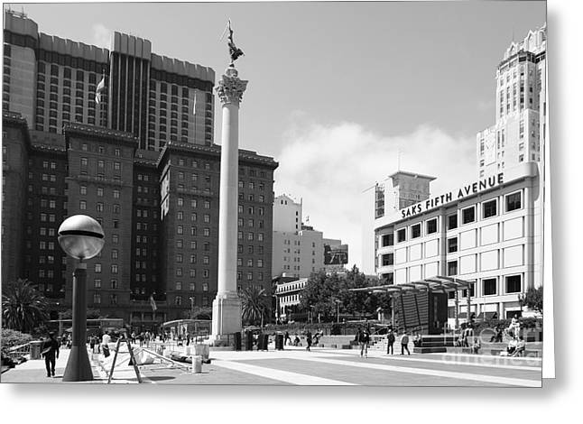 San Francisco - Union Square - 5d17933 - Black And White Greeting Card by Wingsdomain Art and Photography