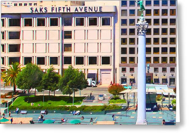 Levi Store Greeting Cards - San Francisco - Union Square - 5D17938 - Square - Painterly Greeting Card by Wingsdomain Art and Photography