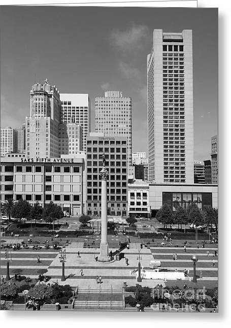 Levi Store Greeting Cards - San Francisco - Union Square - 5D17941 - black and white Greeting Card by Wingsdomain Art and Photography