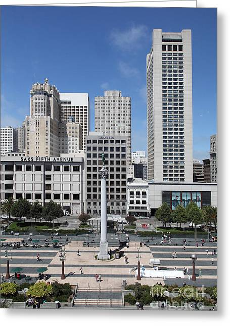 Downtown San Francisco Greeting Cards - San Francisco - Union Square - 5D17941 Greeting Card by Wingsdomain Art and Photography
