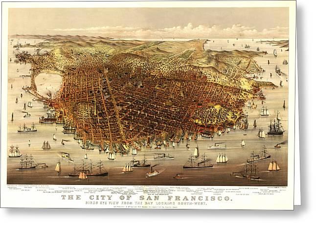 San Francisco 1878 Greeting Card by Donna Leach