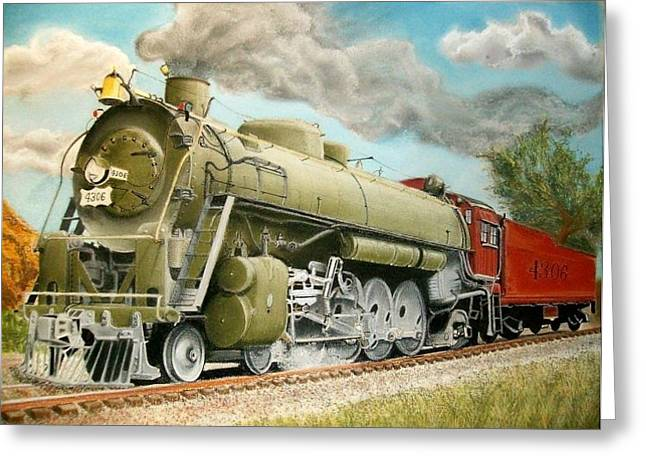 Us History Pastels Greeting Cards - San Francisco and St Louis line Engine 4306 Greeting Card by Paul Gilbert Baswell
