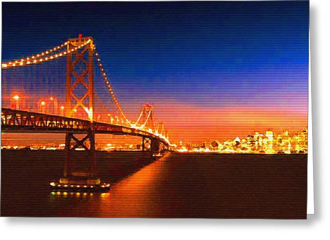 Steve Huang Greeting Cards - San Francisco at Night Greeting Card by Steve Huang