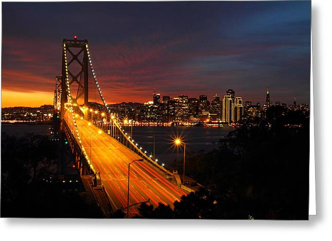 City Lights Greeting Cards - San Francisco Bay Bridge at sunset Greeting Card by Pierre Leclerc Photography