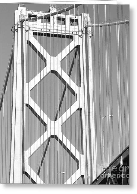 The Embarcadero Greeting Cards - San Francisco Bay Bridge at The Embarcadero . Black and White Photograph . 7D7760 Greeting Card by Wingsdomain Art and Photography