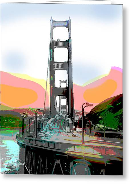 Charles Bridge Mixed Media Greeting Cards - San Francisco Bay Bridge Greeting Card by Charles Shoup