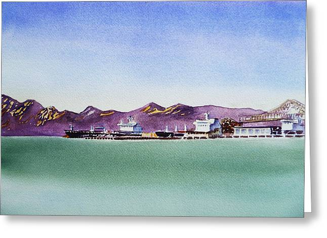 Sea Scape Greeting Cards - San Francisco Bay View on Richmond Port Greeting Card by Irina Sztukowski