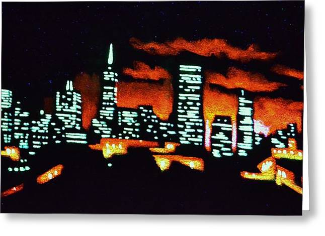 San Francisco Black Light Greeting Card by Thomas Kolendra