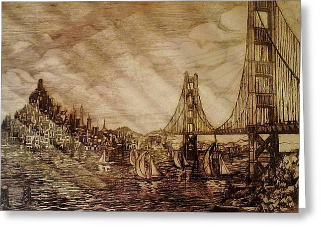 San Francisco Bridge Sketch Greeting Card by Unique Consignment