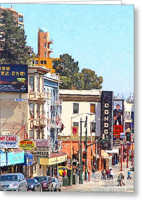 Grant Street Greeting Cards - San Francisco Broadway Greeting Card by Wingsdomain Art and Photography