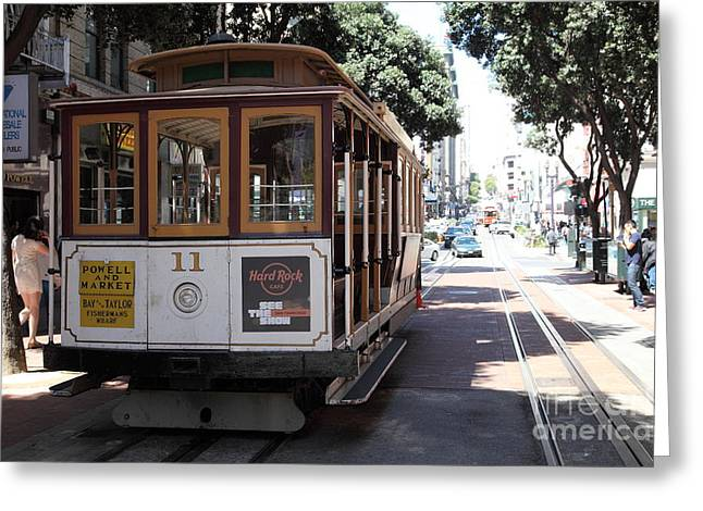 San Francisco Cable Car At The Powell Street Cable Car Turnaround - 5d17962 Greeting Card by Wingsdomain Art and Photography