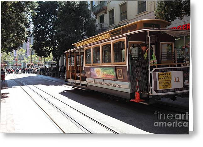 San Francisco Cable Car At The Powell Street Cable Car Turnaround - 5d17963 Greeting Card by Wingsdomain Art and Photography