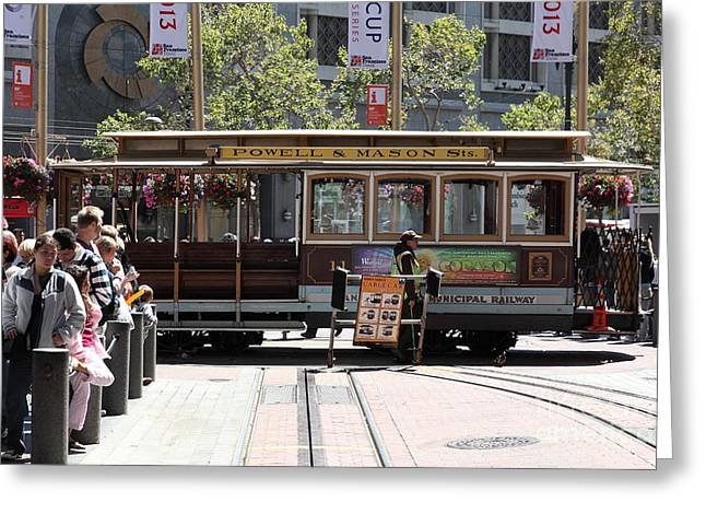Downtown San Francisco Greeting Cards - San Francisco Cable Car at The Powell Street Cable Car Turnaround - 5D17968 Greeting Card by Wingsdomain Art and Photography