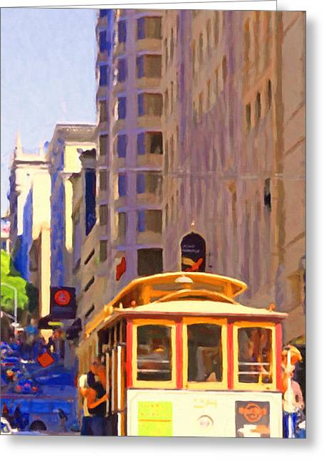 Highrise Digital Art Greeting Cards - San Francisco Cable Car Coming Down Powell Street Greeting Card by Wingsdomain Art and Photography