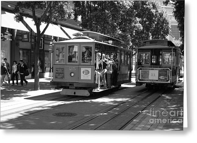 Downtown San Francisco Greeting Cards - San Francisco Cable Cars at The Powell Street Cable Car Turnaround - 5D17959 - black and white Greeting Card by Wingsdomain Art and Photography