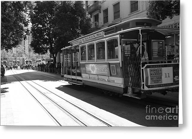 Downtown San Francisco Greeting Cards - San Francisco Cable Cars at The Powell Street Cable Car Turnaround - 5D17963 - black and white Greeting Card by Wingsdomain Art and Photography