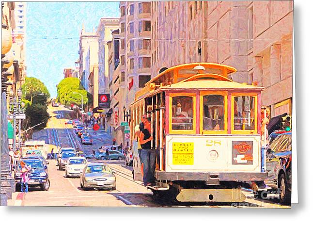 Highrise Digital Greeting Cards - San Francisco Cablecar Coming Down Powell Street Greeting Card by Wingsdomain Art and Photography