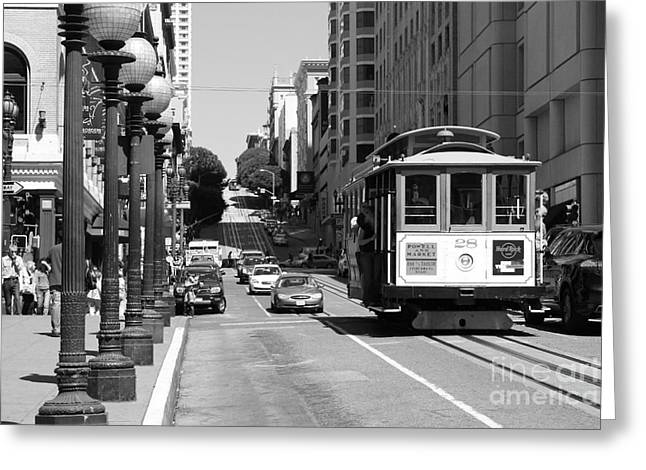 Downtown San Francisco Greeting Cards - San Francisco Cablecar on Powell Street . Black and White Photo Greeting Card by Wingsdomain Art and Photography