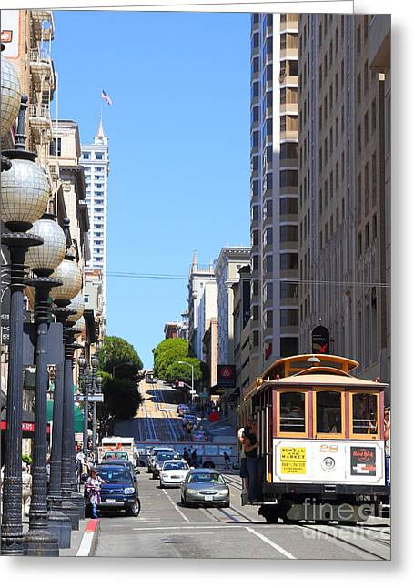 Powell Greeting Cards - San Francisco Cablecar on Powell Street Greeting Card by Wingsdomain Art and Photography