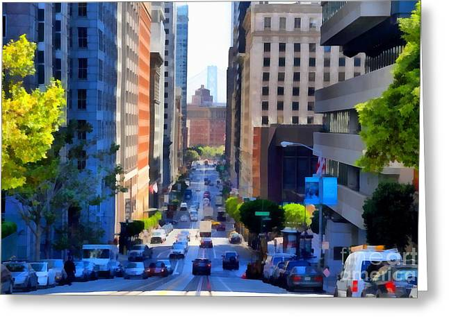 Highrise Digital Greeting Cards - San Francisco California Street  . 7D7186 Greeting Card by Wingsdomain Art and Photography