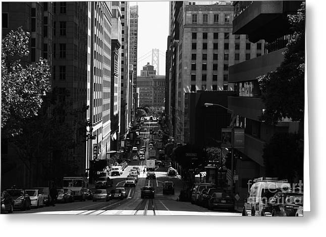 Downtown San Francisco Greeting Cards - San Francisco California Street . bw . 7D7186 Greeting Card by Wingsdomain Art and Photography