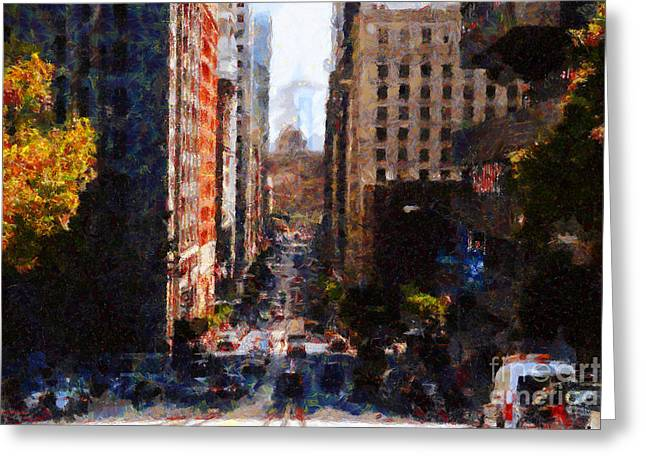 Highrise Digital Greeting Cards - San Francisco California Street  . Painterly . 7D7186 Greeting Card by Wingsdomain Art and Photography