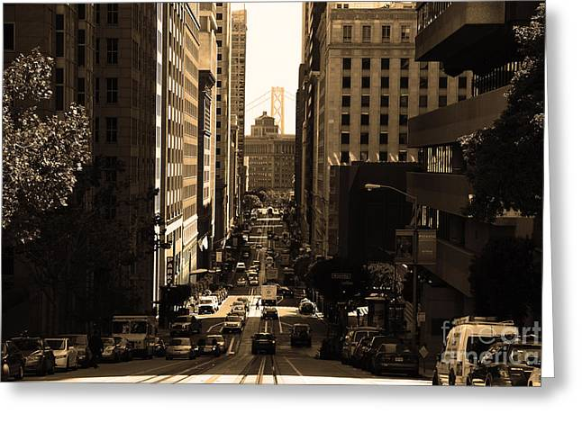 Downtown San Francisco Greeting Cards - San Francisco California Street . sepia . 7D7186 Greeting Card by Wingsdomain Art and Photography