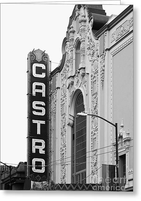 Castro Greeting Cards - San Francisco Castro Theater . Black and White Photograph . 7D7579 Greeting Card by Wingsdomain Art and Photography