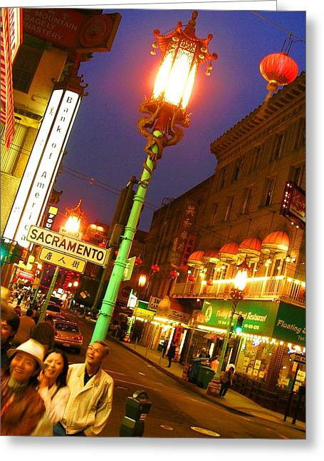 Night Scenes Greeting Cards - San Francisco Chinatown Greeting Card by Elizabeth Hoskinson