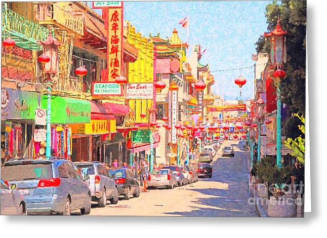 Grant Street Greeting Cards - San Francisco Chinatown Greeting Card by Wingsdomain Art and Photography