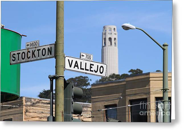 North Italian Town Greeting Cards - San Francisco Coit Tower Through Stockton and Vallejo Streets Greeting Card by Wingsdomain Art and Photography