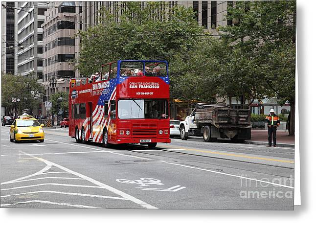 San Francisco Double Decker Tour Bus On Market Street - 5d17851 Greeting Card by Wingsdomain Art and Photography