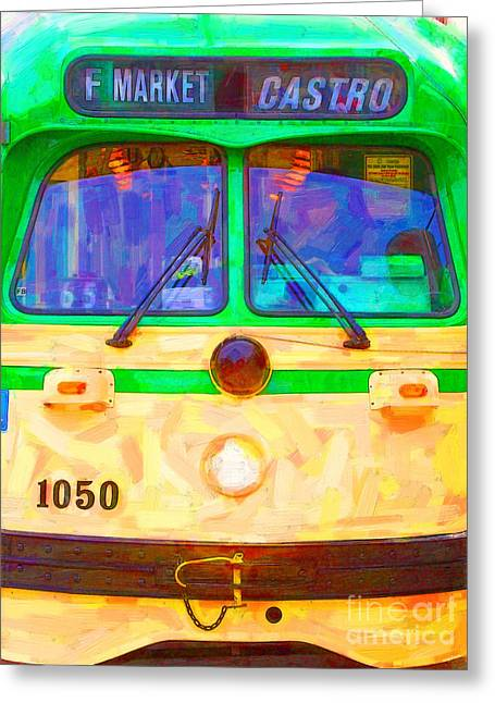 Eureka Valley Greeting Cards - San Francisco F-Line Streetcar Front Side Greeting Card by Wingsdomain Art and Photography
